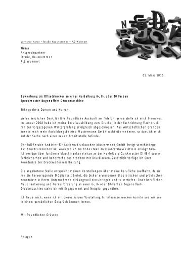 Bewerbungsvorlagen für Druckberufe