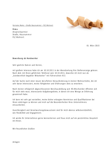 Bewerbungsvorlagen für Handwerksberufe